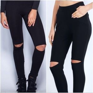 Black Split Knee Leggings with Front/Back Pockets